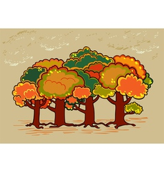 Four trees in autumn time vector image