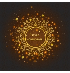 Greeting card with ornamental logo bright lights vector image