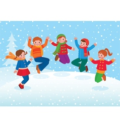 Group of kids playing in the winter outdoors vector image vector image