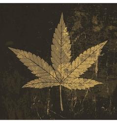 grunge cannabis leaf symbol vector image