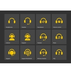 Headphones and support icons vector