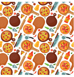 Hot fresh pizza banner seamless pattern icon food vector