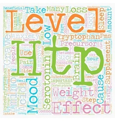 Improve your mood with htp supplements text vector