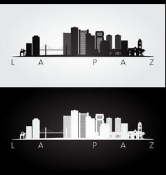 La paz skyline and landmarks silhouette vector
