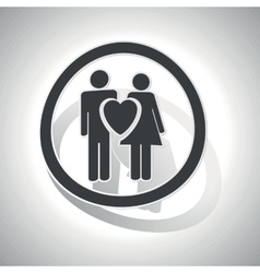 Love couple sign sticker curved vector image