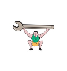 Mechanic lifting giant spanner wrench cartoon vector