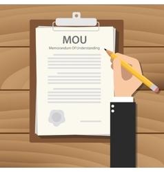 mou memorandum of understanding concept paper vector image