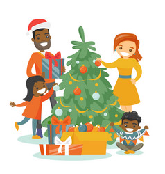 Multiethnic family decorating the christmas tree vector