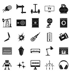 Nuclear energy icons set simple style vector