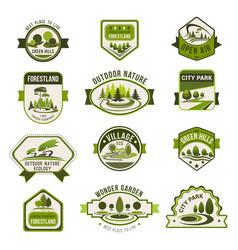 park green city garden eco landscaping badge set vector image