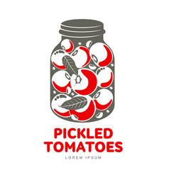pickles glass jar flat vector image vector image