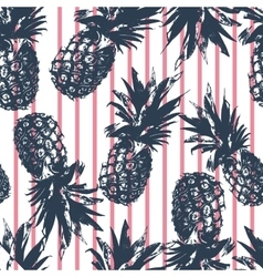 Pineapple pattern on pink stripes background vector