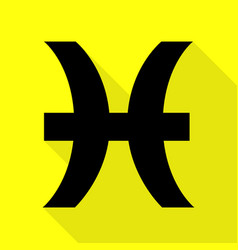 Pisces sign black icon with flat vector