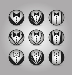 Round icons jacket set vector