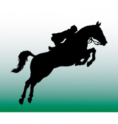 Silhouette of horseman vector