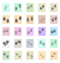 silhouettes animal birds and mammals footprints vector image vector image