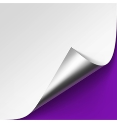 Silver corner of white paper on violet background vector