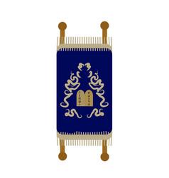 Torah icon flat cartoon style scroll isolated vector