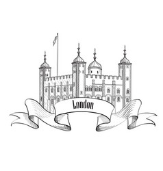 Tower of london famous building london england uk vector