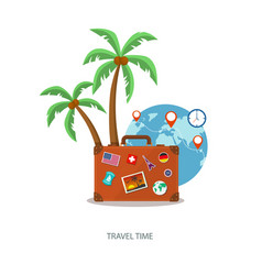 Travel suitcase with palmtrees and globe vector