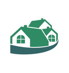Wrapped group house green logo vector
