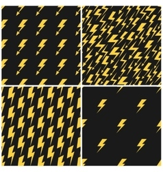 Yellow lightnings black seamless patterns vector
