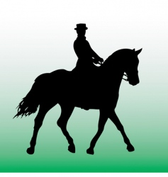 Silhouette of horsewoman vector