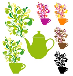 Coffee and tea with colorful swirls vector