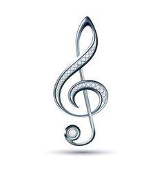 Silver treble clef with diamonds vector