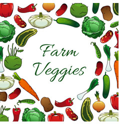 Farm vegetables poster vegetarian food background vector