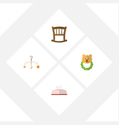 flat kid set of infant cot rattle mobile and vector image