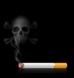 Skull shaped smoke comes out from cigarette on vector