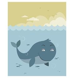 Whale at sea vector