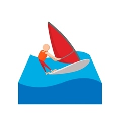 Sailing yacht race cartoon icon vector
