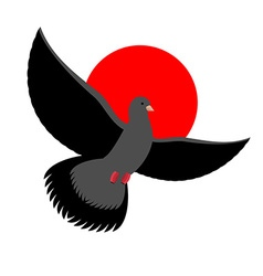 Black dove symbol of sadness and mourning flying vector