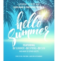 Hello summer party flyer design vector
