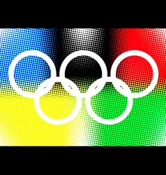 White olympic ring on color halftone background vector