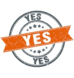 Yes round orange grungy vintage isolated stamp vector
