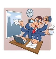 Busy businessman at office vector