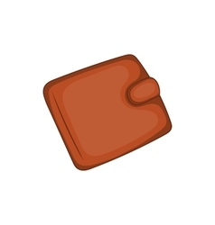 Brown leather wallet icon cartoon style vector image