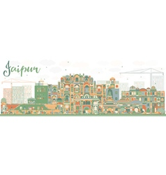 Abstract Jaipur Skyline with Color Landmarks vector image