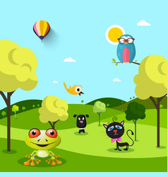 animals on landscape vector image vector image