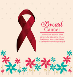 Breast cancer ribbon with flowers decoration vector