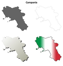 Campania blank detailed outline map set vector