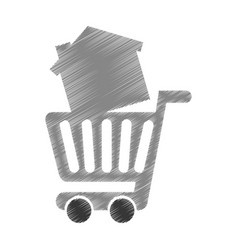 Cart shopping with house isolated icon vector