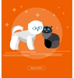 Character design cat and dog vector