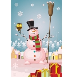 Christmas snowman in winter village landscape vector image