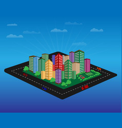 City with high-rise buildings vector