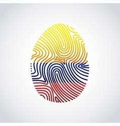 Colombian flag fingerprint colorful icon vector