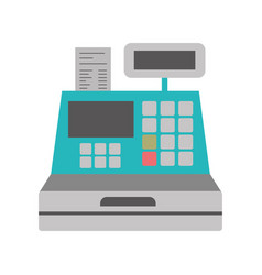 Color silhouette with cash register vector
